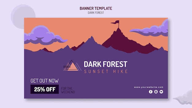 Bannermalplaatje voor wandelen in het donker bos