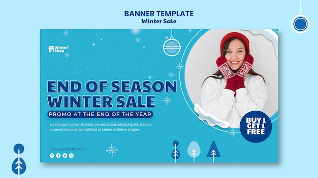 Bannermalplaatje voor winterverkoop