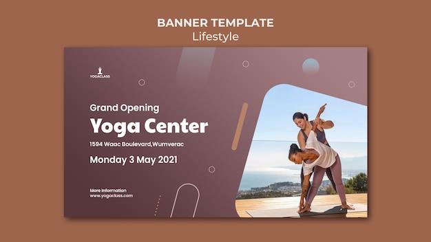 Bannermalplaatje voor yoga praktijk en oefening