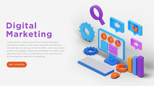 Bannerontwerp voor digitale marketingwebsite