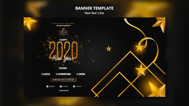 Bannerontwerp voor het vooravond van het nieuwe jaar sjabloon