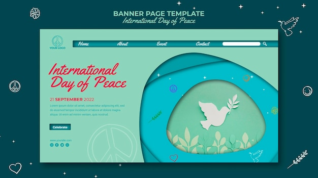 Bannerpagina van de internationale dag van de vrede