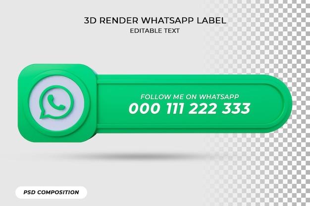 Bannerpictogram volgt op whatsapp 3d-renderinglabel