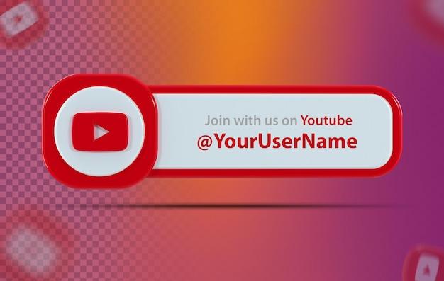 Bannerpictogram youtube met label 3d render