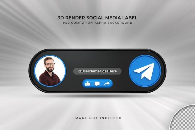 Bannerpictogramprofiel op telegram live streaming 3d-renderinglabel