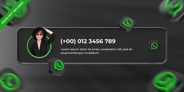 Bannerpictogramprofiel op whatsapp 3d-renderinglabel geïsoleerd