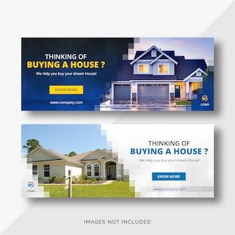 Banners della copertura di facebook di real estate