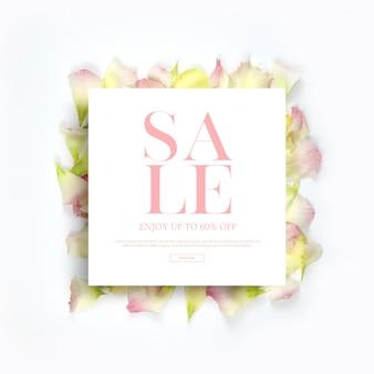 Banners y marcos de la temporada de primavera, plantilla con hermosas flores, fondo de invitación