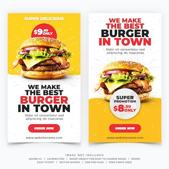 Banners de plantilla de historias de instagram de hamburguesas de comida rápida