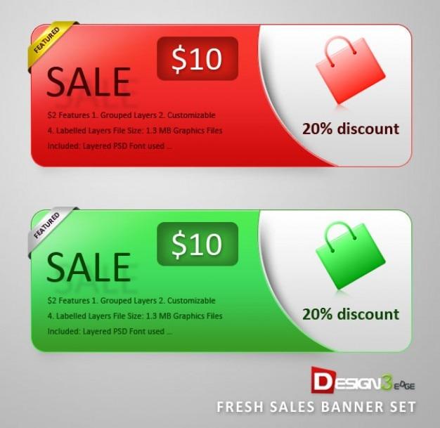 Banners de venta establecidos. compras y descuentos