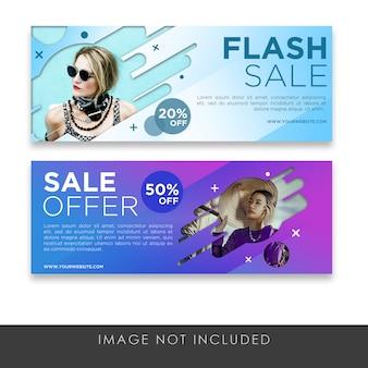 Banners de venta flash con degradado