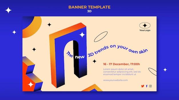Bannersjabloon voor 3d-trends Gratis Psd