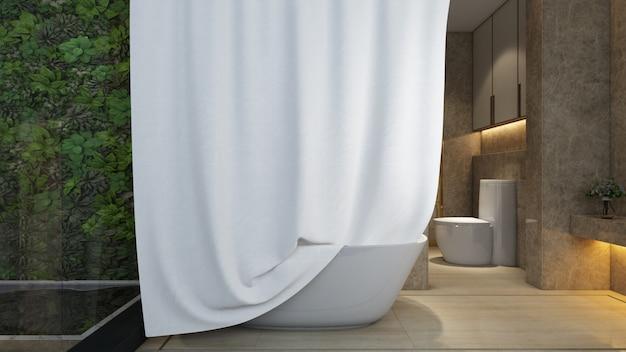 Baño realista con bañera y retrete en una casa moderna