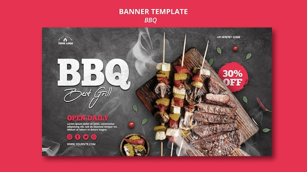 Barbecue banner sjabloon stijl