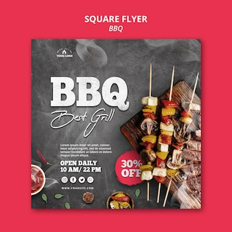 Barbecue flyer sjabloon thema Gratis Psd