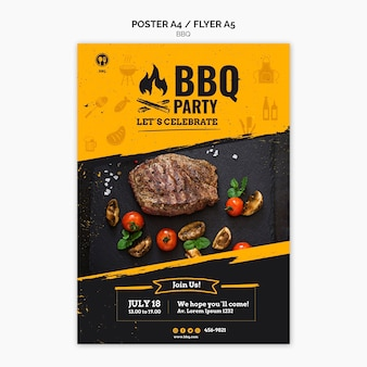 Barbecue partij poster sjabloon