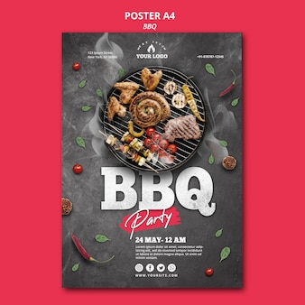 Barbecue poster sjabloon concept