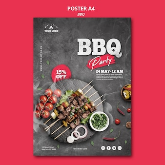 Barbecue poster sjabloon thema