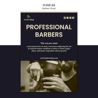 Barber shop flyer sjabloon met afbeelding