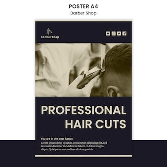 Barber shop poster sjabloon met foto