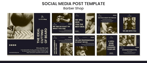 Barber shop social media postsjabloon