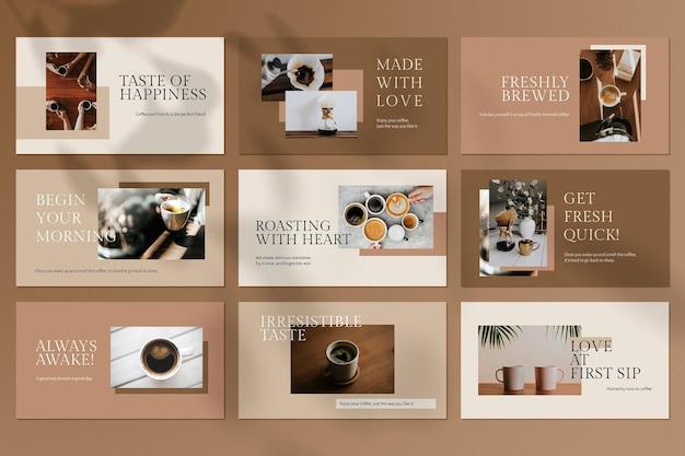 Barista-presentatiesjabloon psd set minimale stijl