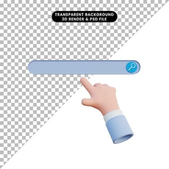Barra de búsqueda de ilustración 3d con la mano apuntando