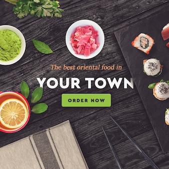 Barra de sushi, plantilla de post de redes sociales de restaurante.