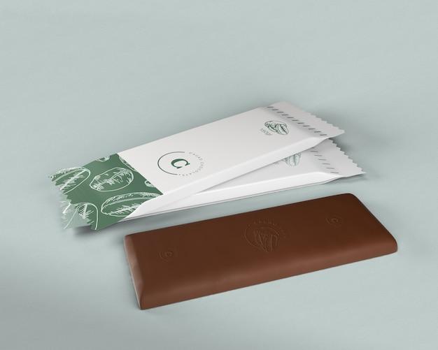 Barretta di cioccolato in plastica che avvolge il modello