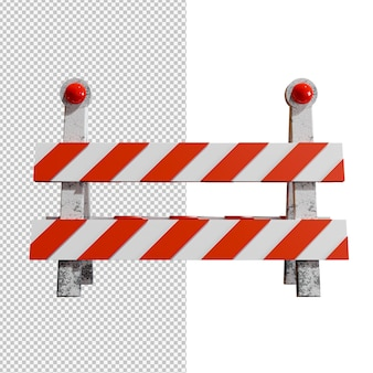 Barriera stradale su sfondo trasparente