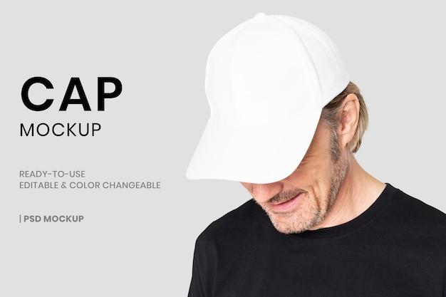 Basic cap mockup psd-sjabloon voor hoofddeksels mode-advertentie