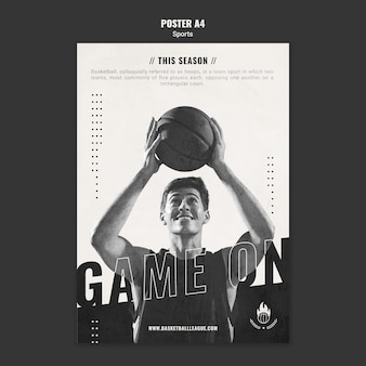 Basketbal advertentie poster sjabloon