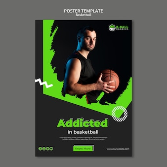 Basketbal poster sjabloon concept