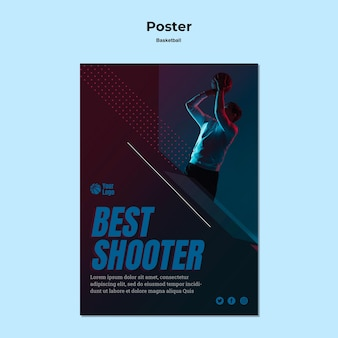 Basketbal poster sjabloon concept