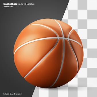 Basketbal sport klasse symbool 3d-rendering pictogram bewerkbare geïsoleerd