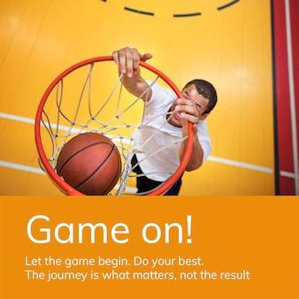 Basketbal sport sjabloon psd motiverende psd sociale media advertentie