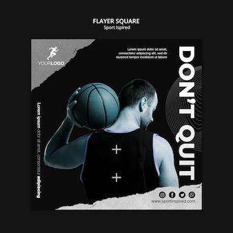 Basketbal training advertentie vierkante sjabloon folder