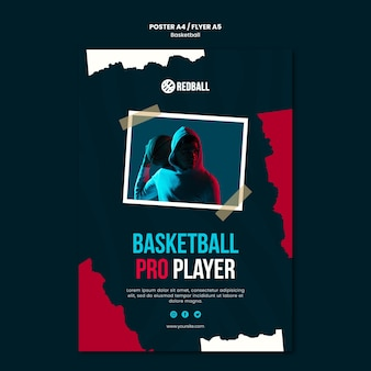 Basketbal training poster sjabloon