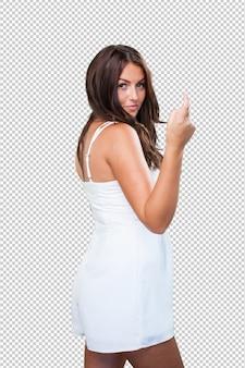 Bastante joven mujer haciendo un gesto sexy