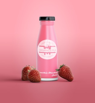 Batido rosa en maqueta de botella