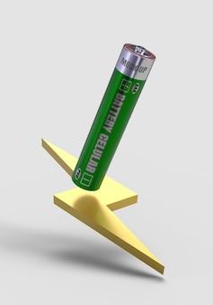 Batterij cellulaire aaa-mockup 3d render voor productontwerp