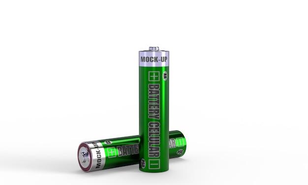 Batterij cellulaire mockup in 3d render voor productontwerp