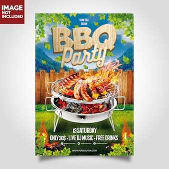 Bbq barbeque muziek party flyer malplaatje