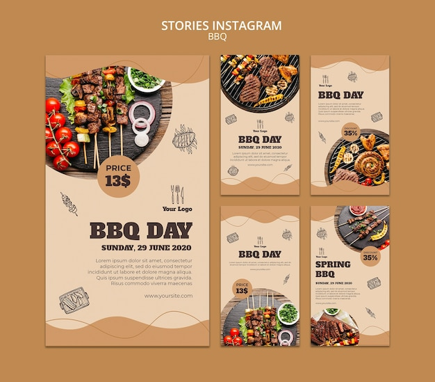 Bbq concept instagram verhalen sjabloon Gratis Psd