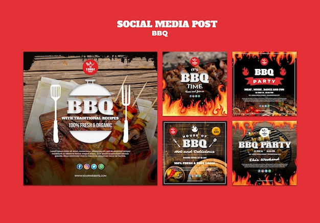 Bbq concept social media postsjabloon