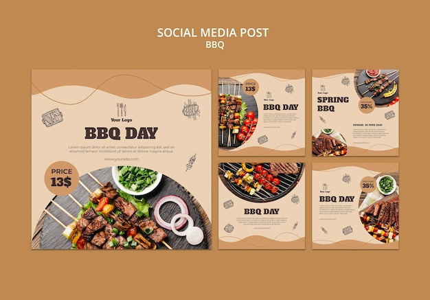 Bbq concept social media postsjabloon