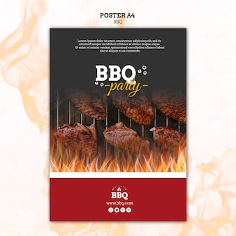 Bbq-partij en grill poster sjabloon