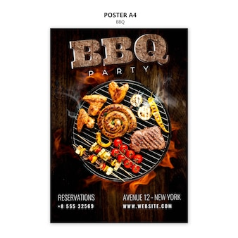 Bbq-sjabloon poster a4