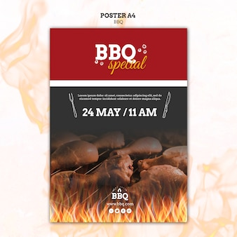 Bbq special en grill poster sjabloon