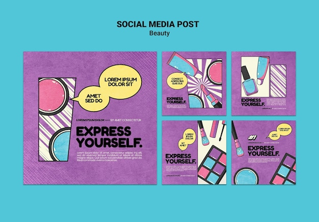 Beauty pop art social media posts
